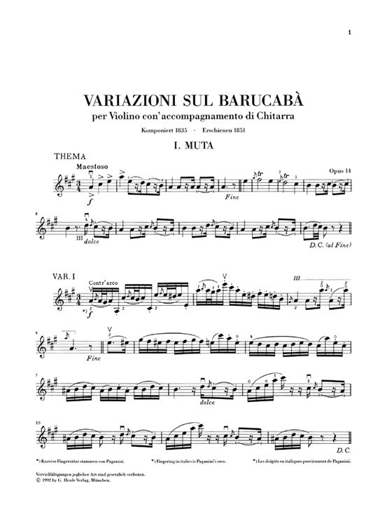PAGANINI N. - 60 VARIATIONS ON BARUCABA FOR VIOLIN AND GUITAR OP. 14