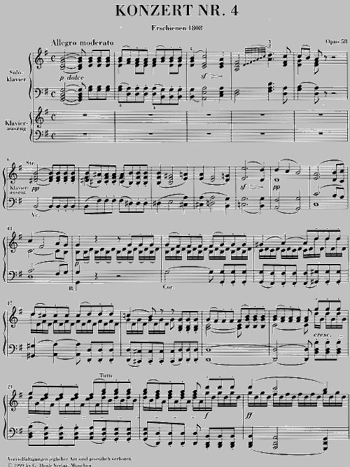 BEETHOVEN L.V. - CONCERTO FOR PIANO AND ORCHESTRA NO. 4 G MAJOR OP. 58
