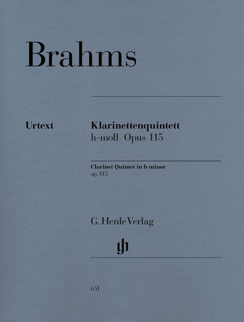 BRAHMS J. - CLARINET QUINTET IN B MINOR OP. 115 FOR CLARINET, 2 VIOLINS, VIOLA AND VIOLONCELLO