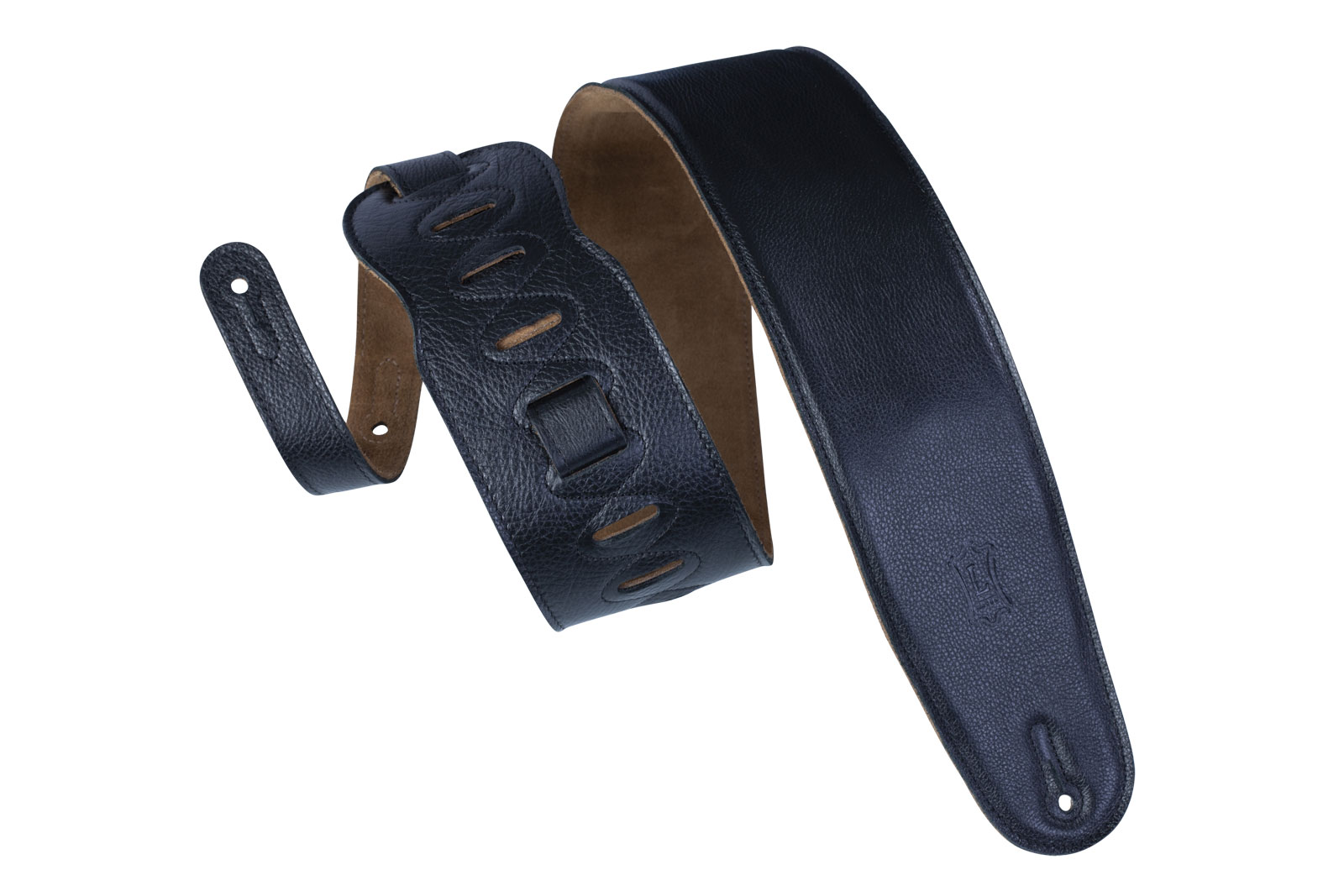PADDED LEATHER, SUEDE BACK, FOR BASS, 9CM - BLACK