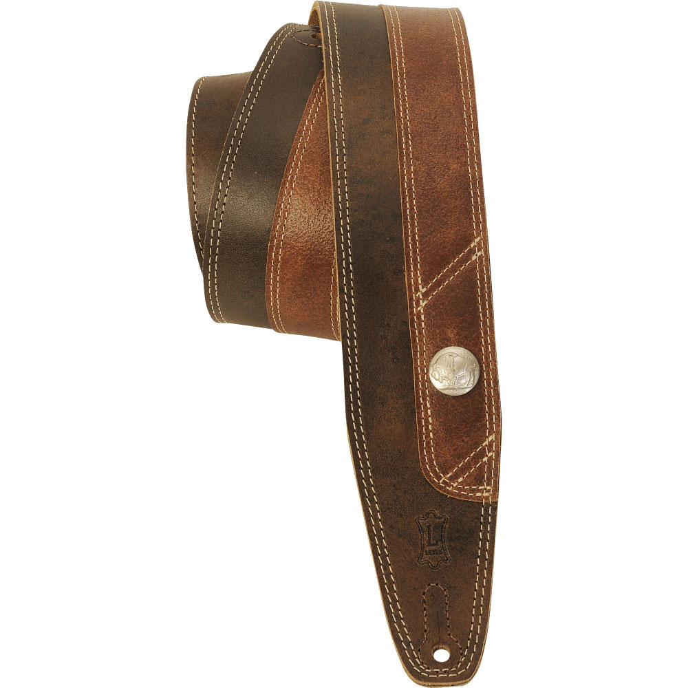 6.5 CM, LEATHER AND SOFT SUEDE BACK, DOUBLE STITCHING, VINTAGE BUFFALO SERIES - DARK BROWN