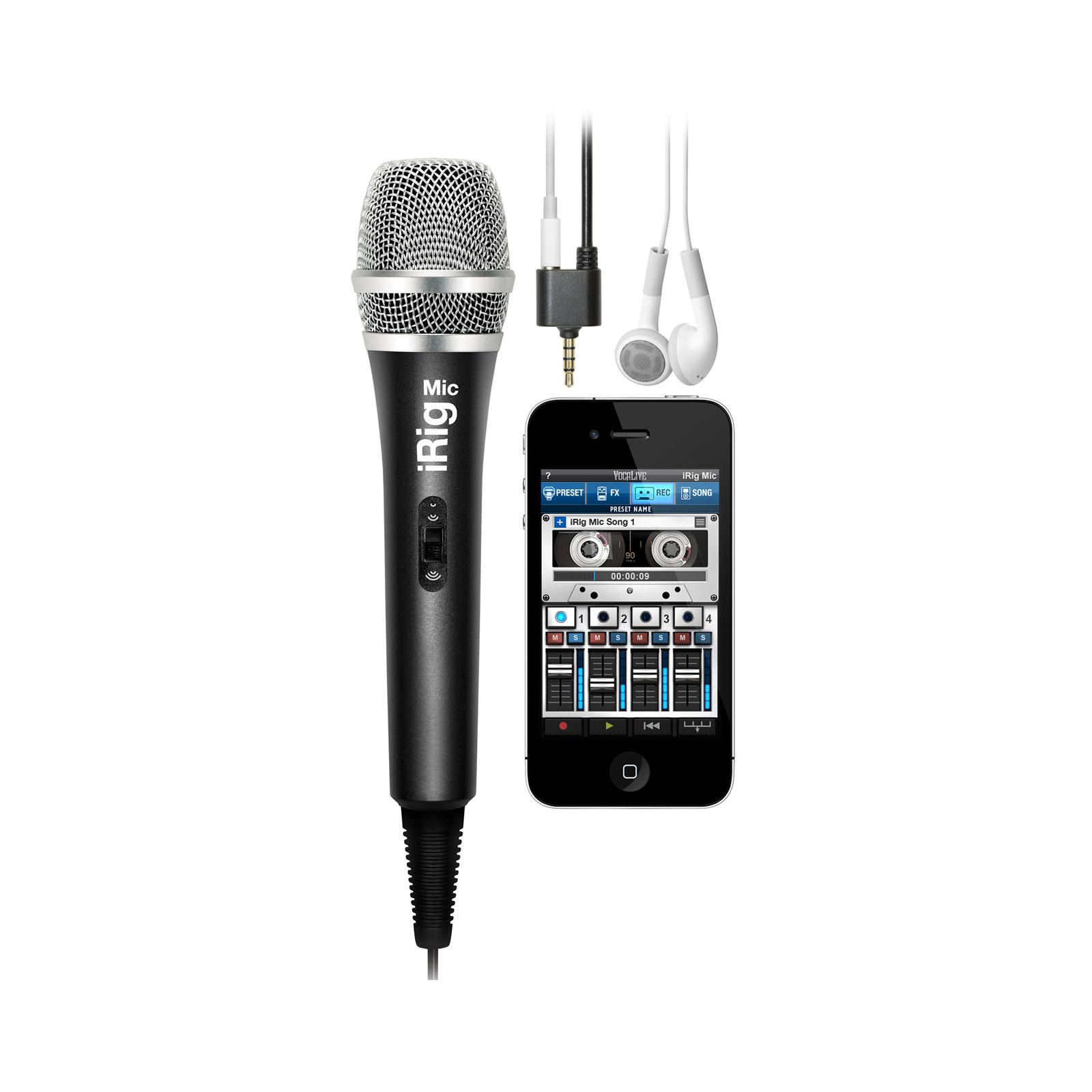 Product L'iRIG Mic est idéal pour les chanteurs et les instrumentistes en mouvement, mais aussi parfait pour enregistrer des discours, des instruments, des spectacles... /> />N'importe quelle source audio peut être enregistrée et retouchée directement sur votre appareil mobile. /> />L'iRig Mic est en mesure d'enregistrer et de reproduire avec précision les instruments acoustiques, instruments amplifiés ou bien encore les performances live de n'importe quel groupe en concert. /> />iRig Mic est compatible avec toutes les applications qui utilisent l'entrée micro de l'iPhone, iPod touch ou iPad et avec les applications Android. /> />VocaLive se destine au traitement en direct de la voix, avec de nombreux effets. AmpliTube dispose d'effets pour la guitare et la basse, ainsi que des fonctions avancées d'enregistrement et de mastering. iRig Recorder est une application facile d'accès dédiée à l'enregistrement audio. /> /> />Caractéristiques principales : />- Idéal pour toutes les applications de chant ou de karaoké />- Idéal pour tous types d'enregistrements sonores ou de transformation audio />- Capsule à condensateur unidirectionnel />- Double connecteur mini-jack pour branchement sur casque, haut-parleurs />- Boîtier métallique robuste />- Peut être placé sur un support standard de micro />- Compatible avec tous les iPhone, iPod touch (avec entrée micro) et iPad.