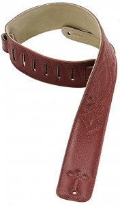 6.4 CM FULL GRAIN DOUBLE LEATHER WITH BURGUNDY STITCHING PATTERNS