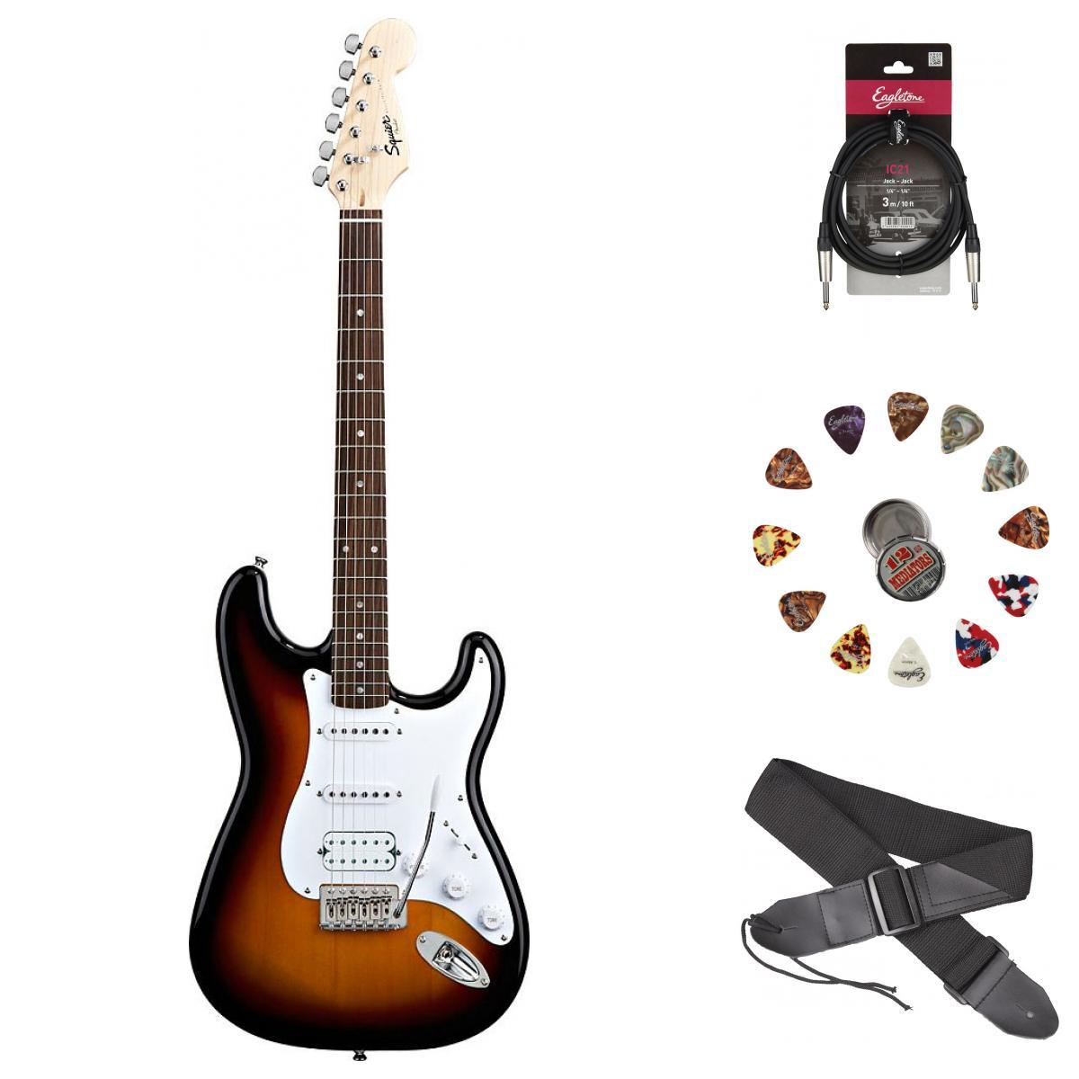 Squier By Fender Stratocaster Hss Brown Sunburst Bullet + Accessoires