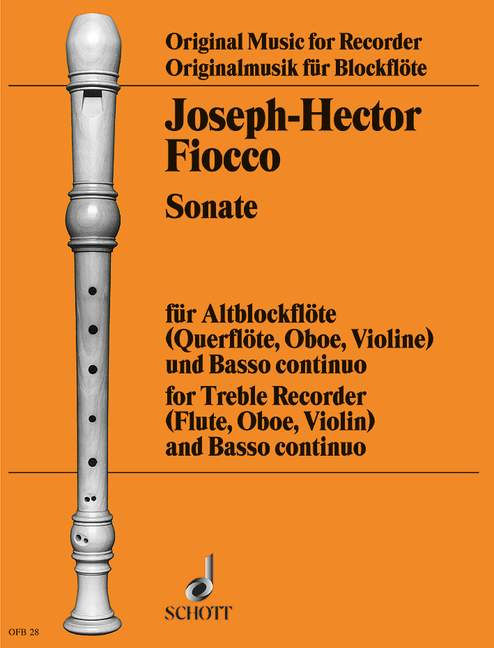 FIOCCO J.-H. - SONATA IN G MINOR - TREBLE RECORDER (FLUTE, OBOE, VIOLIN) AND BASSO CONTINUO