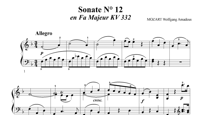 MOZART W. A. - SONATA N° 12 IN F MAJOR KV 332 - PIANO