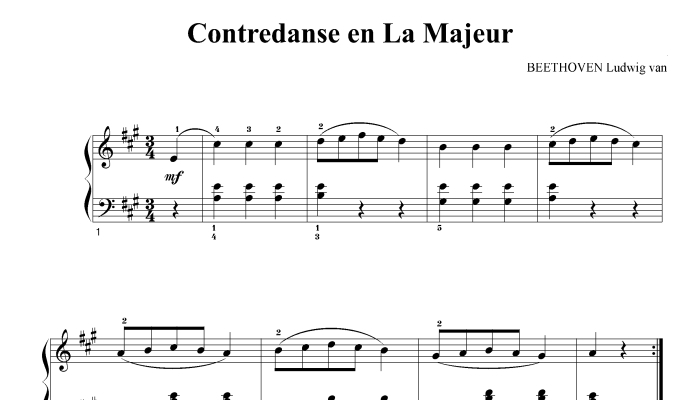 BEETHOVEN LUDWIG VAN - CONTREDANCE IN A MAJOR - PIANO