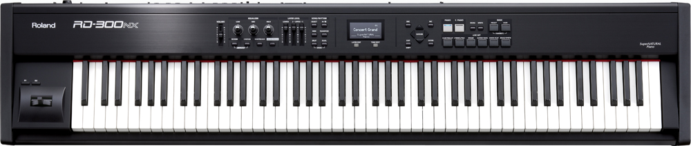 Product Un instrument de pointe à petit prix /> />Avec le RD-700NX, Roland avait placé la barre très haut dans le domaine des pianos de scène. La qualité sonore SuperNATURAL de réputation mondiale et l?expressivité du fleuron de la série RD sont désormais disponibles dans une version plus compacte et plus abordable? le RD-300NX! Ce nouveau piano de scène propose un générateur de sons SuperNATURAL Piano, des sons de pianos électriques basés sur la technologie SuperNATURAL, un clavier «Ivory Feel>-G avec double échappement, une fonction «Sound Focus> unique en son genre et bien plus encore. /> />Highlights /> />- Technologie SuperNATURAL Piano />- Nouveaux sons de pianos électriques basés sur la technologie SuperNATURAL />- La fonction innovatrice «Sound Focus> veille à ce que toutes les notes restent audibles dans le mixage sans compresser ni colorer le son />- Nouveau clavier «Ivory Feel>-G à double échappement />- Interface utilisateur intuitive: nouvelle fonction «One Touch Piano> et écran LCD graphique />- Des centaines de sons internes d?excellente qualité />- Pédalier RPU-3 optionnel (3 pédales) /> /> />Caractéristiques /> /> />Polyphonie maximale />128 voix /> />Generateurs de son (Conforme au système General MIDI 2) />SuperNATURAL Piano, SuperNATURAL (E.Piano), Génétateur de son PCM, GM2 (pour lecture de fichiers SMF) /> />Live Sets Preset />200 /> />Live Sets User />60 /> />Effets Multi-Effets />78 types, Réverb : 6 types, Chorus : 3 types, Compresseur 3 bandes, Égaliseur numérique 3 bandes,Sound Focus [Lecteur SMF/Fichier Audio] /> />Format de fichier Standard MIDI File />format-0/1, Fichier audio : WAV (44.1 kHz, 16 bits linéaire) [Autres] /> />Motifs rhythmiques />200 motifs /> />Commandes Coulissantes />LAYER LEVEL x 3,Commandes EQUALIZER, Levier Pitch Bend/Modulation,Boutons S1/S2 (assignables) /> />Écran />Afficheur graphique à cristaux liquides 128 x 64 pixels (rétro-éclairé) /> />Prises Sorties (L/MONO, R) />jack 1/4?, Prise pédale forte (DAMPER), Pr