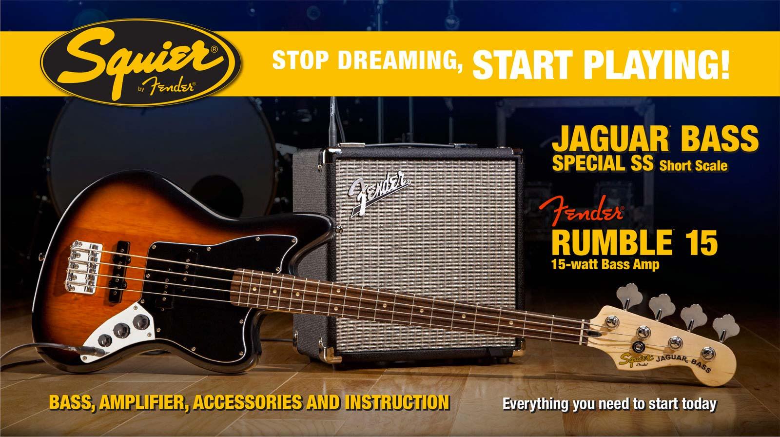 Squier By Fender Jaguar Bass Special Ss Short Scale Brown Sunburst + Fender Rumble...