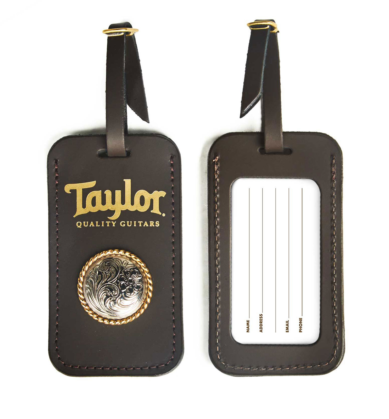 LEATHER LUGGAGE TAG W/ CONCHO CHOCOLATE BROWN GOLD LOGO