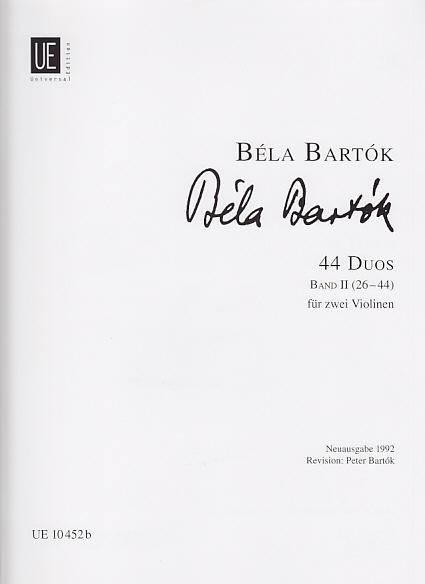 Bartok B. - 44 Duos Vol. 2 - 2 Violons