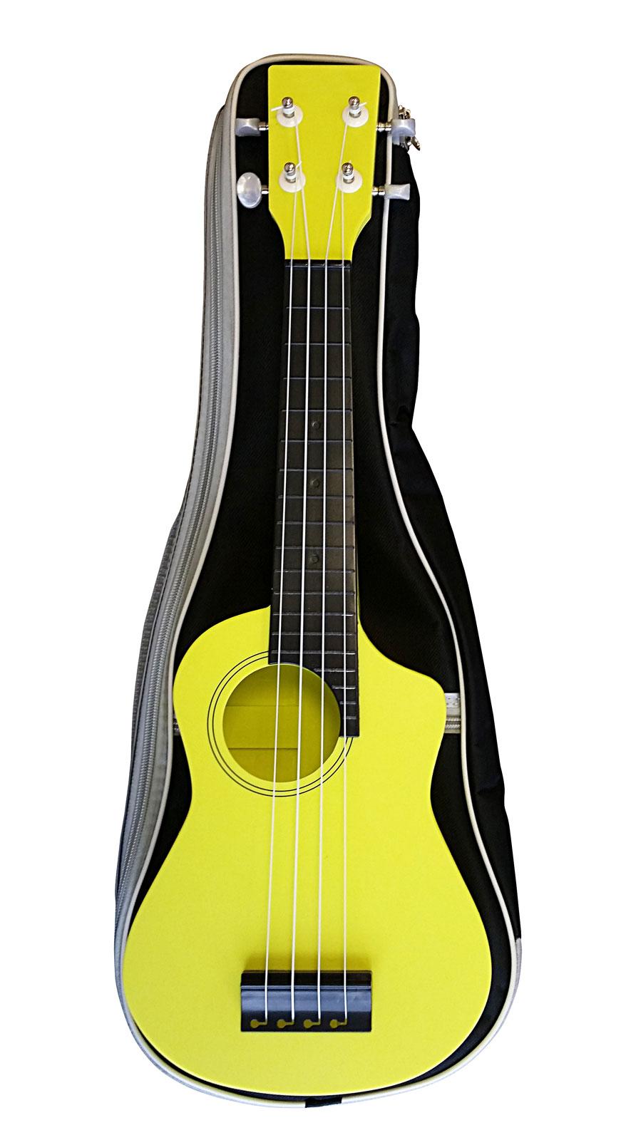 Aqualele modele soprano jaune touche noire housse for Housse ukulele