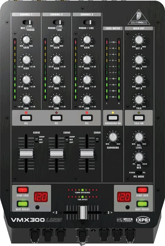 Table De Mixage Dj 3 Voies Behringer Vmx300 Usb Pro Mixer