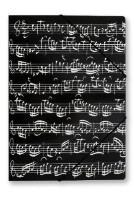 Chemise Noire Motif Notes De Musique Avec Bandes Elastiques