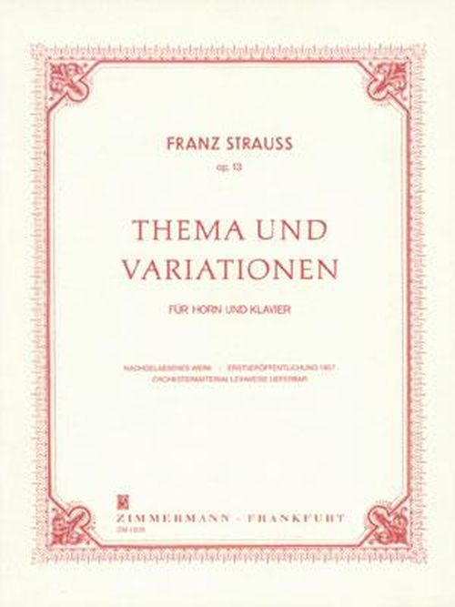 Strauss Franz - Thema and Variationen Op.13 - Cor and Piano